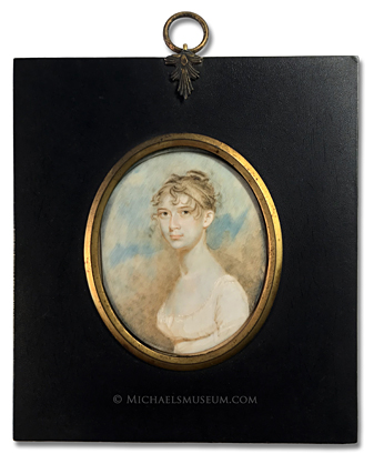 Portrait miniature by Benjamin Trott of an early American lady depicted with a sky background