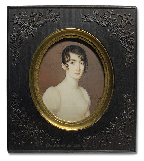 Portrait miniature by Philippe R. Vallée (often confused with Jean François Vallée) depicting an early nineteenth centur American lady