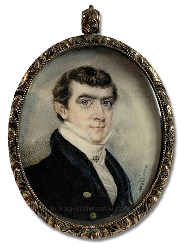 Portrait miniature by Henry Williams, depicting an early American gentleman of Boston, fashionably attired with a high collar and ornate cravat pin