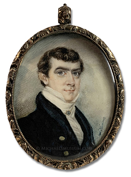 Portrait miniature by Henry Williams of a Jacksonian Era American gentleman depicted with a sky background and wearing an ornate cravat pin