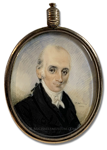 "Portrait miniature by Henry Williams, depicting an early American gentleman of Boston wearing his hair ""en queue""."