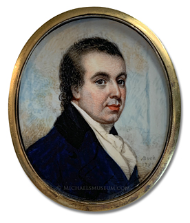 Portrait miniature by Adam Buck, depicting Alexander Brand, a London jeweler of the late Georgian Era.
