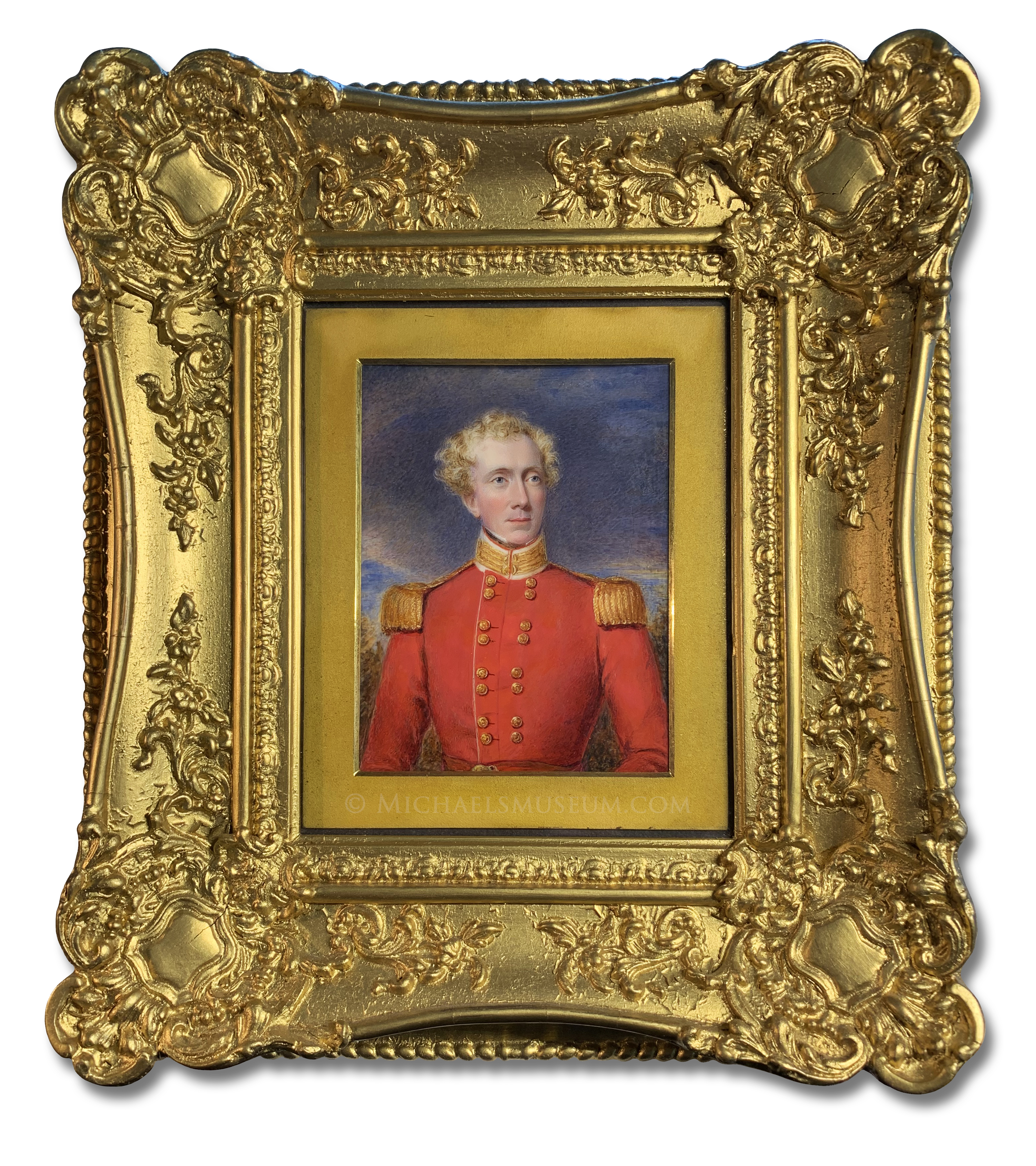 Enlarged version of miniature portrait of Lieut. Col. James Noble of the 29th Regiment of the Madras Native Infantry