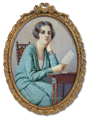 Portrait miniature by Amy Gertrude Chamberlin, depicting an early twentieth century English lady seated at a desk and reading a letter