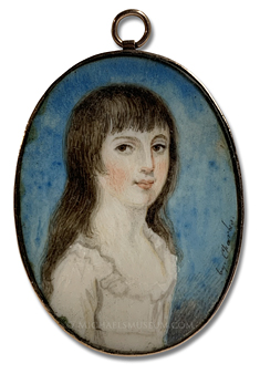 Portrait miniature by A. Charles, depicting a young, Georgian Era girl with long, brown hair