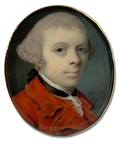 Portrait miniature by Samuel Cotes, depicting a Georgian Era gentleman wearing a gold-trimmed red coat and matching waistcoat