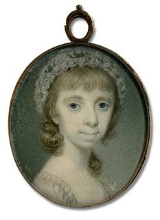 Portrait miniature by Richard Crosse, depicting Mary Nutt (1785-1810), daughter of Capt. George Anson Nutt and step daughter of Mary Tymewell Blake Nutt