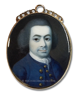 Portrait miniature by Irish painter Gustavus Hamilton, depicting an 18th century Irish gentleman wearing a blue coat with gold buttons and a matching waistcoat
