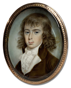 Portrait miniature by Patrick John McMorland depicting a young, Georgian Era gentleman wearing a brown coat
