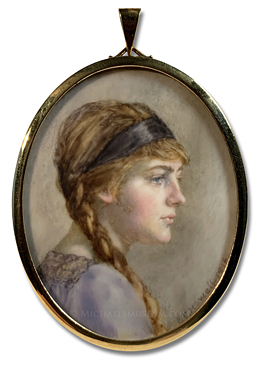 Portrait miniature by Florence Ethel Howell depicting a World War I era English lady, identified only as 'Marguerite', in almost-profile view