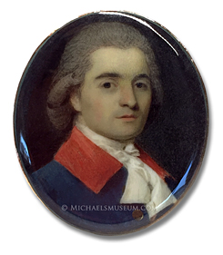 Portrait miniature by Ozias Humphry, depicting an eighteenth century Italian gentleman wearing a fashionable, blue coat with a red collar