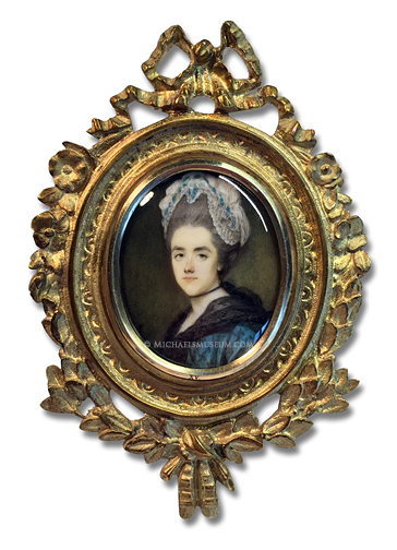 Portrait miniature by Ozias Humphry, depicting an elegantly dressed Georgian Era lady