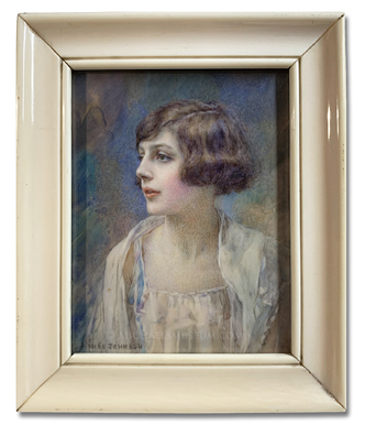 Portrait miniature by Inès Octavia Hawkins Johnson of a young English lady of the early twentieth century depicted in a hairstyle and clothing of the art deco era