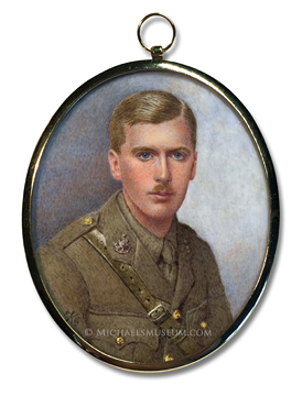 Portrait miniature by Emily Gertrude Kenyon of a handsome World War I era British Army officer
