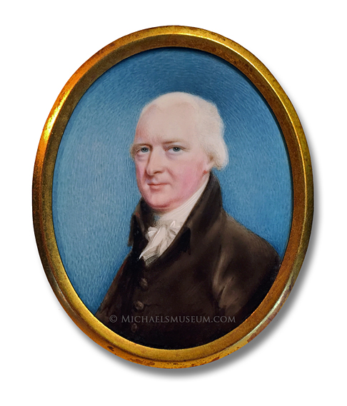 Portrait miniature by Thomas Langdon, depicting a Regency Era gentleman in three-quarter view