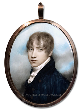 Portrait miniature by Andrew Plimer of a young, Georgian Era gentleman depicted with a sky background