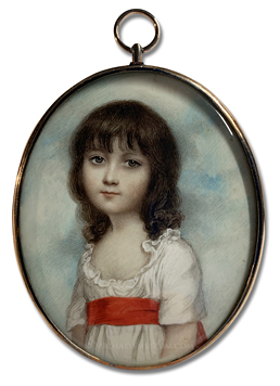 Portrait miniature by Andrew Plimer of a Georgian Era girl identified as Miss Meliora Butter, depicted with a sky backgroiund and wearing a white dress with a red sash