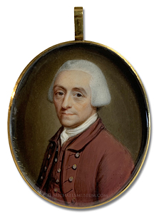 Portrait miniature by James Scouler of a Georgian Era gentleman wearing a brown coat and matching waistcoat