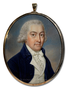 "Portrait miniature by James Scouler of a Georgian Era gentleman identified by the monogrammed initials ""W.J."""