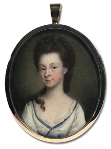 Portrait miniature by James Scouler of a Georgian Era lady with long hair partially draped over her shoulder