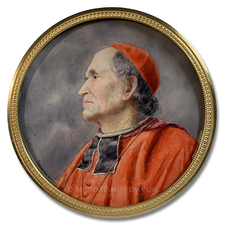 Portrait miniature by Ethel Mary Willis of a Roman Catholic cardinal in profile view