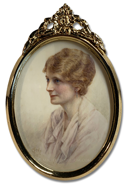Portrait miniature by Constance E. Wise of a young English lady of the World War I era, depicted in almost-profile view
