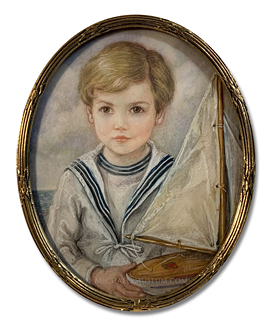 Portrait miniature by Felicity Campbell of Sir Andrew Ashton Walter Hills, 1st Baronet of Hills Court, painted at the age of five