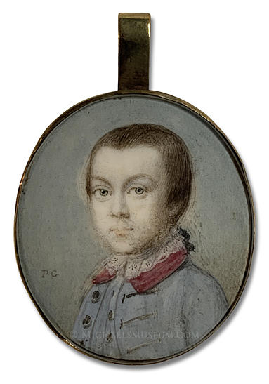 Portrait miniature by Penelope Carwardine, depicting George Anson Nutt at about Eight Years of Age.
