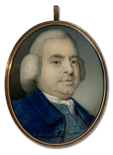 Portrait miniature by Thomas Day, depicting a Georgian Era gentleman wearing a powdered wig and fashionably dressed in a coat and waistcoat of complimentary blues
