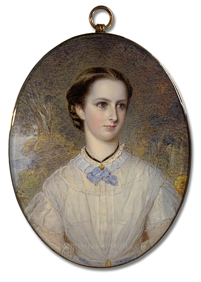 Portrait miniature by Reginald Easton of Isabella Mary Spencer Smith (1846-1870)