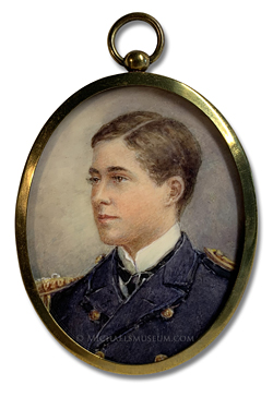 Portrait miniature by Edmund Gouldsmith depicting George William Seymour Seton (1885-1963), painted when he was a lieutenant in the British Royal Navy