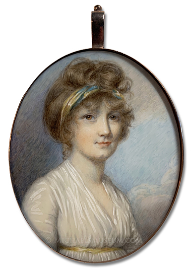 Miniature Portrait of a Georgian Era Lady -- artist unknown