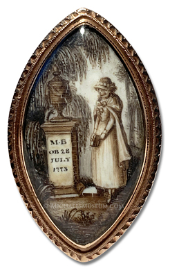Georgian Era mourning miniature depicting a young lady standing at the gravesite of a friend or loved one with the Initials of 'M. B.'