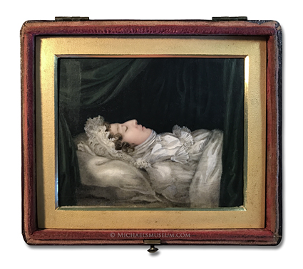 Post Mortem Portrait of a Late Georgian Era Lady Lying in Repose -- artist unknown