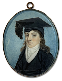 Portrait miniature of a late Georgian era university scholar wearing a black cloak and mortarboard