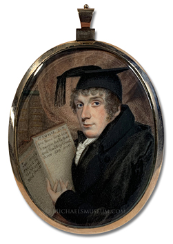 Portrait miniature of a late Georgian era theology student holding a bible open to the passage of 1 John 5:7