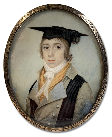 Portrait miniature of a late Georgian era university scholar wearing a black stole and mortarboard