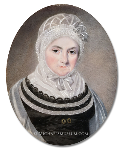 Portrait miniature by Isaac Wane Slater, depicting a Regency Era lady wearing a finely ornamented black dress, a lace bonnet and a cashmere shawl