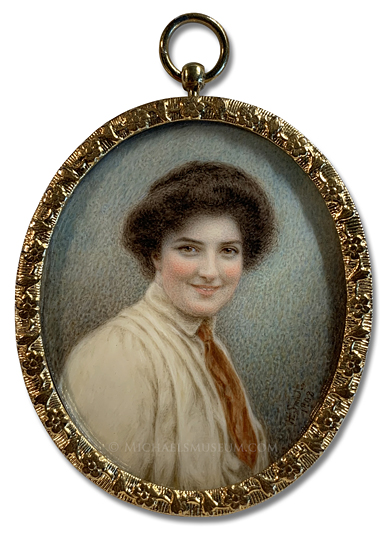 Portrait miniature by Hannah Elizabeth Smith depicting Miss Edith Laura Smith, Principal of Howard College an Sister-in Law of the Artist