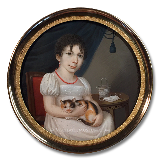 Portrait miniature by Josef Bernhard Einsle depicting a Napoleonic Era German lady with knitting materials at her side and a calico cat on her lap