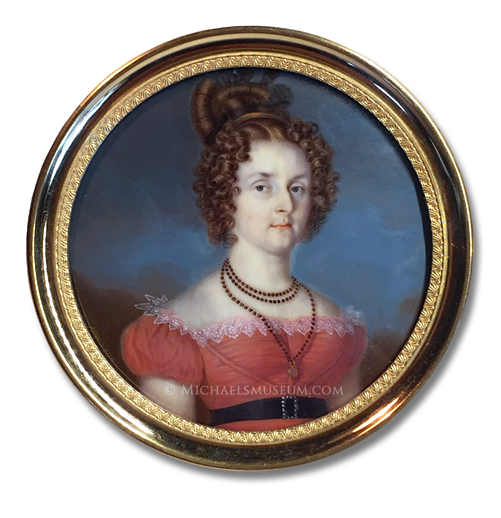 Portrait miniature by Angelo Vacca (the younger), depicting a young Italian noblewoman of Piedmont-Sardinia
