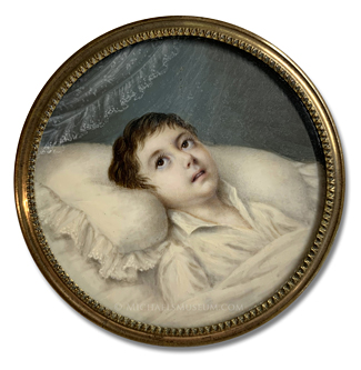 Mid Nineteenth Century Boy, Appearing Ill, Lying on What is Likelly his Deathbed -- Artist Unknown