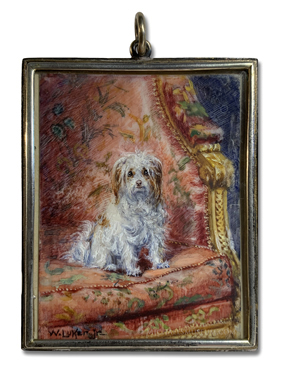 Portrait miniature by William Luker, Jr. depicting a small, white and tan terrier sitting on a Louis XVI armchair
